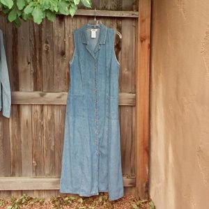 Faded Glory Maxi Denim Dress w/Metal Buttons LG